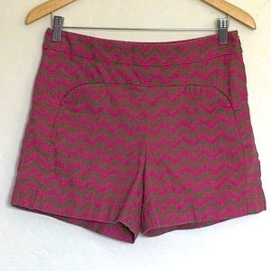 Anthropologie Cartonnier Pink Chevron Shorts Sz 6